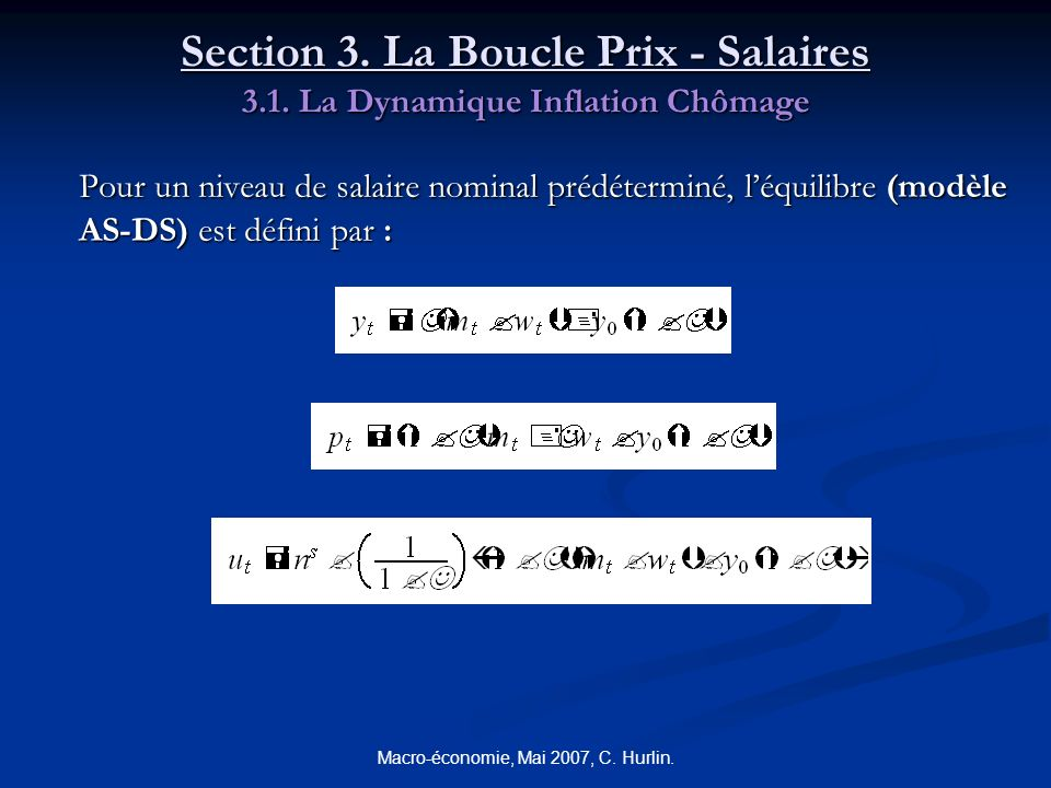 Macro-économie, Mai 2007, C. Hurlin. Section 3. La Boucle Prix - Salaires 3.1. La Dynamique Inflation Chômage Pour un niveau de salaire nominal prédét