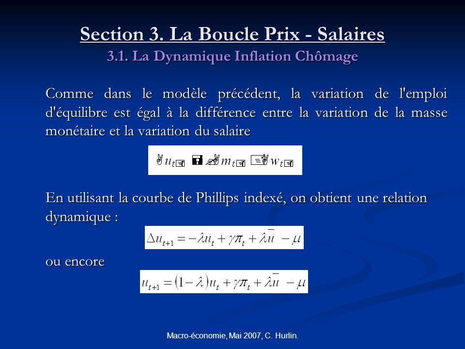 Macro-économie, Mai 2007, C. Hurlin. Section 3. La Boucle Prix - Salaires 3.1. La Dynamique Inflation Chômage Comme dans le modèle précédent, la varia