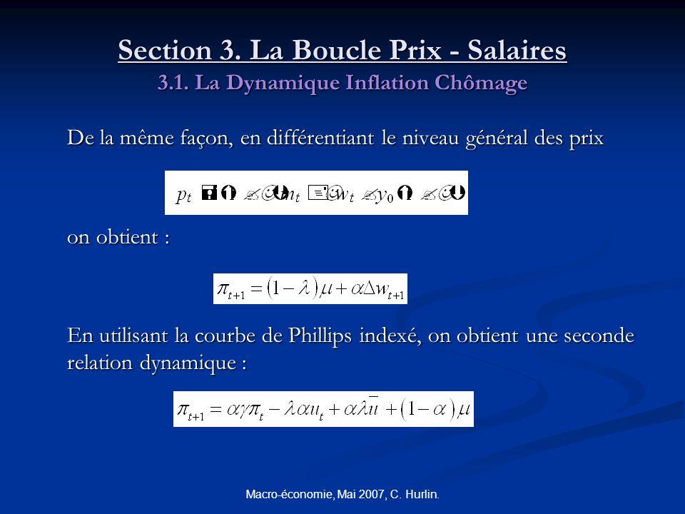 Macro-économie, Mai 2007, C. Hurlin. Section 3. La Boucle Prix - Salaires 3.1. La Dynamique Inflation Chômage De la même façon, en différentiant le ni