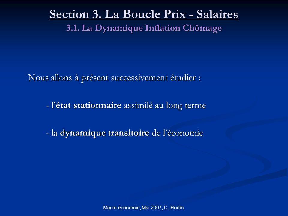 Macro-économie, Mai 2007, C. Hurlin. Section 3. La Boucle Prix - Salaires 3.1. La Dynamique Inflation Chômage Nous allons à présent successivement étu