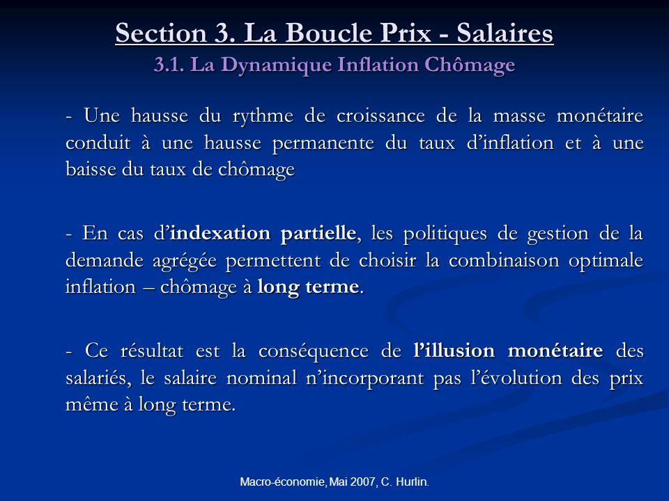 Macro-économie, Mai 2007, C. Hurlin. Section 3. La Boucle Prix - Salaires 3.1. La Dynamique Inflation Chômage - Une hausse du rythme de croissance de