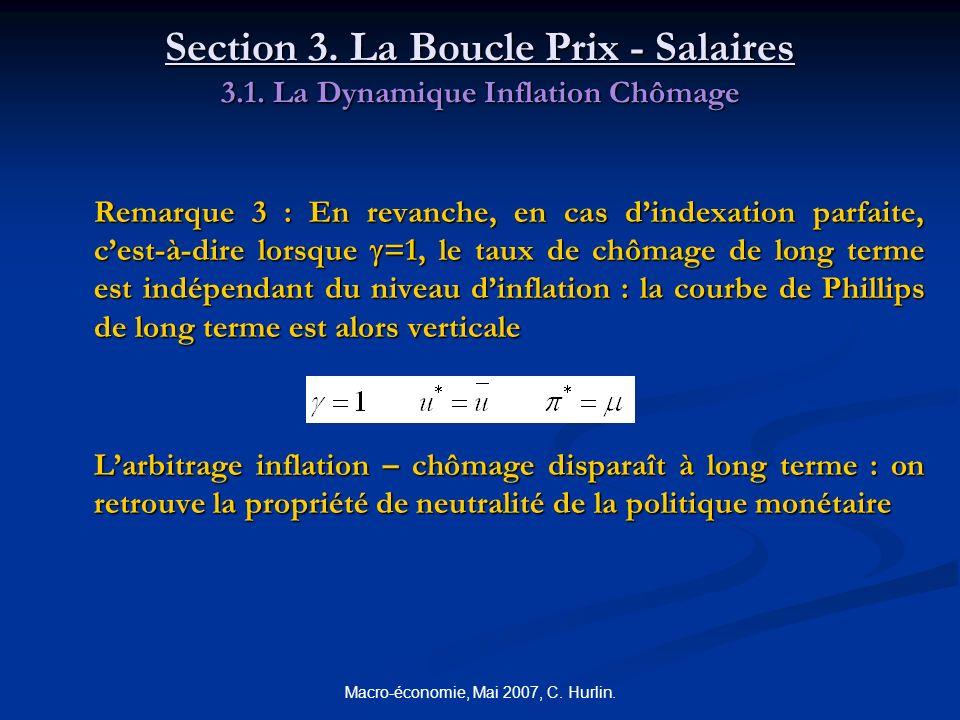 Macro-économie, Mai 2007, C. Hurlin. Section 3. La Boucle Prix - Salaires 3.1. La Dynamique Inflation Chômage Remarque 3 : En revanche, en cas dindexa