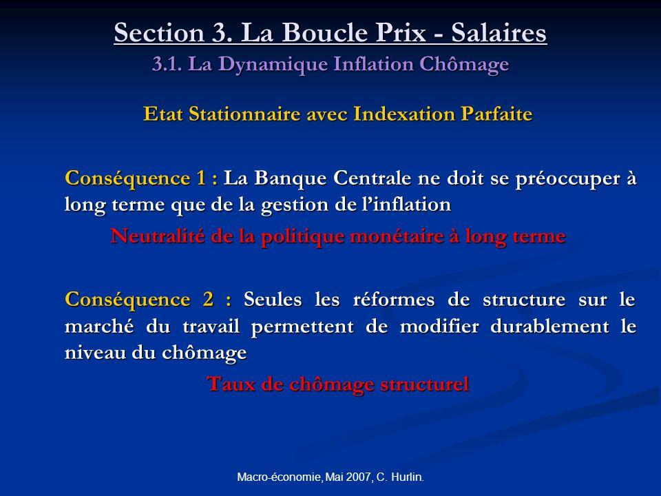 Macro-économie, Mai 2007, C. Hurlin. Section 3. La Boucle Prix - Salaires 3.1. La Dynamique Inflation Chômage Etat Stationnaire avec Indexation Parfai
