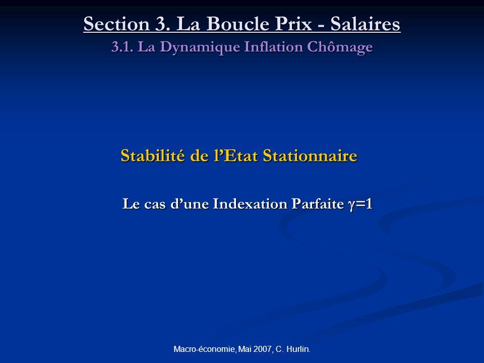 Macro-économie, Mai 2007, C. Hurlin. Section 3. La Boucle Prix - Salaires 3.1. La Dynamique Inflation Chômage Stabilité de lEtat Stationnaire Le cas d