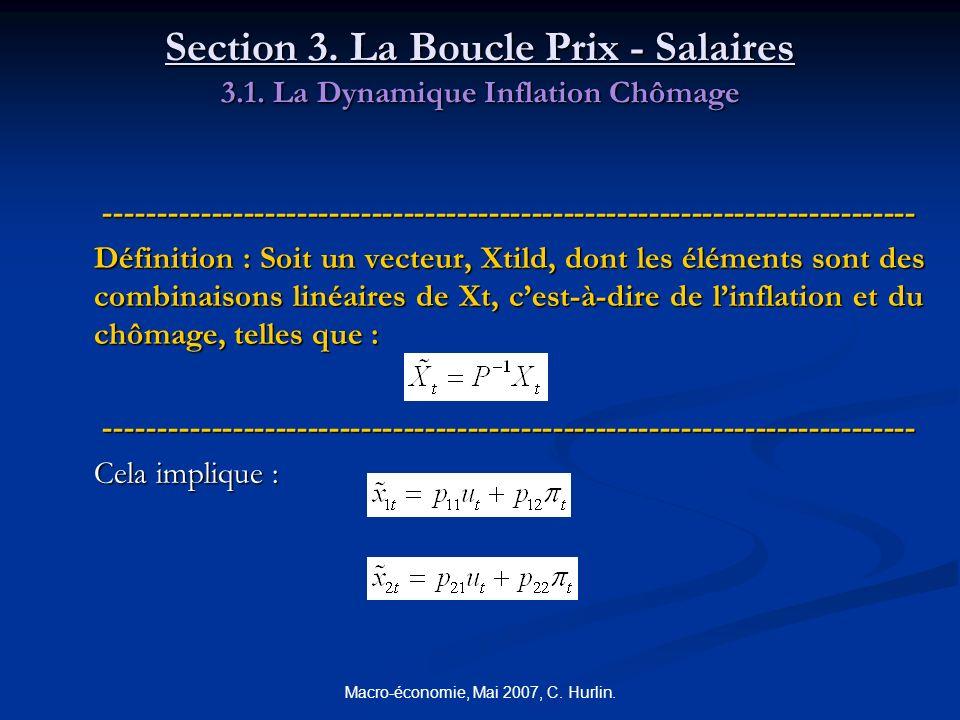 Macro-économie, Mai 2007, C. Hurlin. Section 3. La Boucle Prix - Salaires 3.1. La Dynamique Inflation Chômage ----------------------------------------