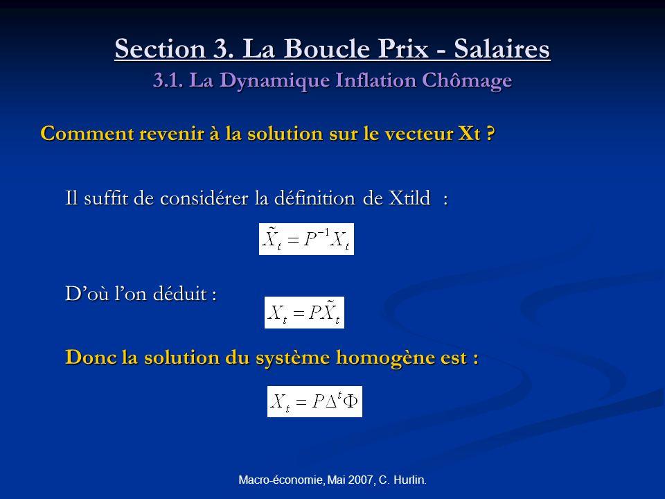 Macro-économie, Mai 2007, C. Hurlin. Section 3. La Boucle Prix - Salaires 3.1. La Dynamique Inflation Chômage Comment revenir à la solution sur le vec