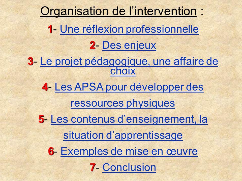 Organisation de lintervention : 1 1- Une réflexion professionnelleUne réflexion professionnelle 2 2- Des enjeuxDes enjeux 3 3- Le projet pédagogique,