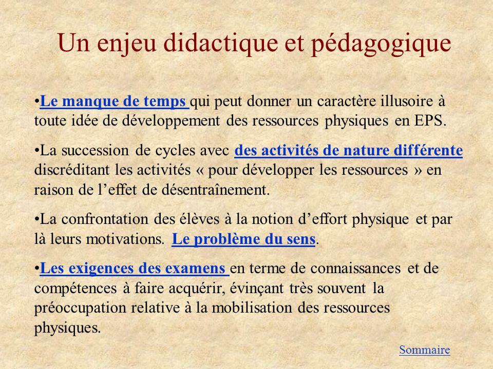Un enjeu didactique et pédagogique Le manque de temps qui peut donner un caractère illusoire à toute idée de développement des ressources physiques en