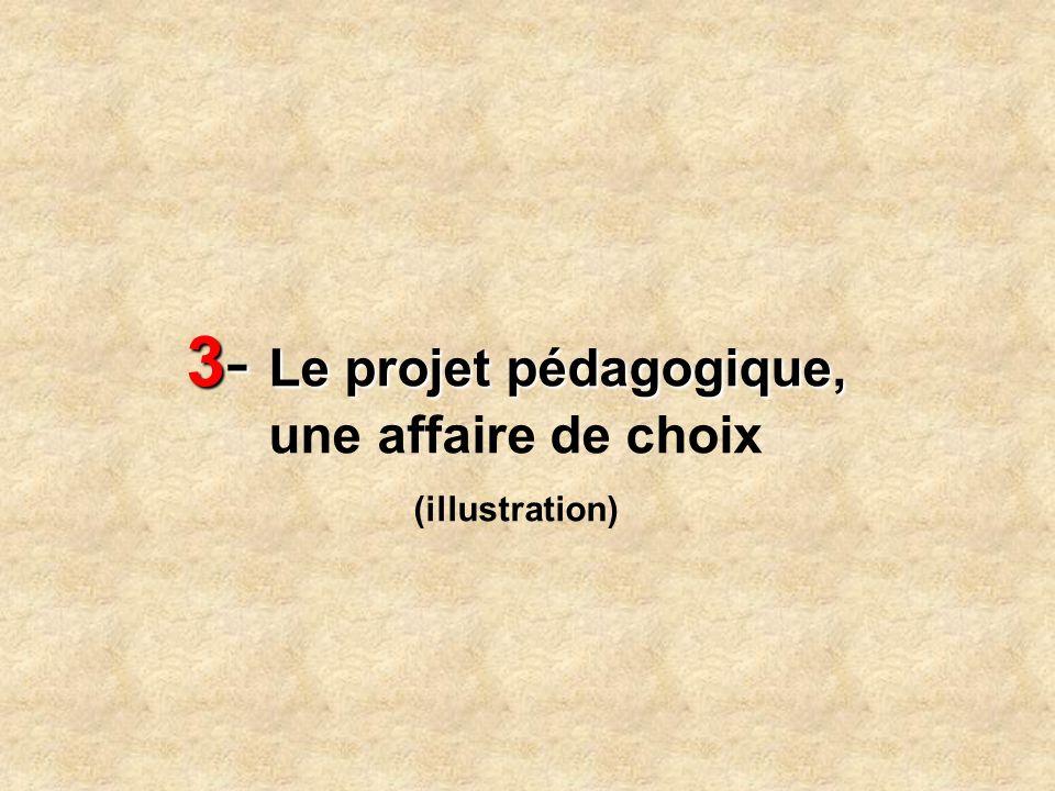 3- Le projet pédagogique, 3- Le projet pédagogique, une affaire de choix (illustration)