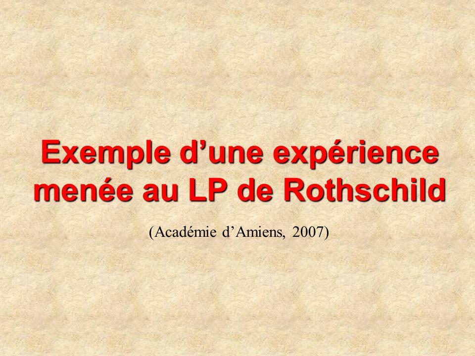 Exemple dune expérience menée au LP de Rothschild (Académie dAmiens, 2007)