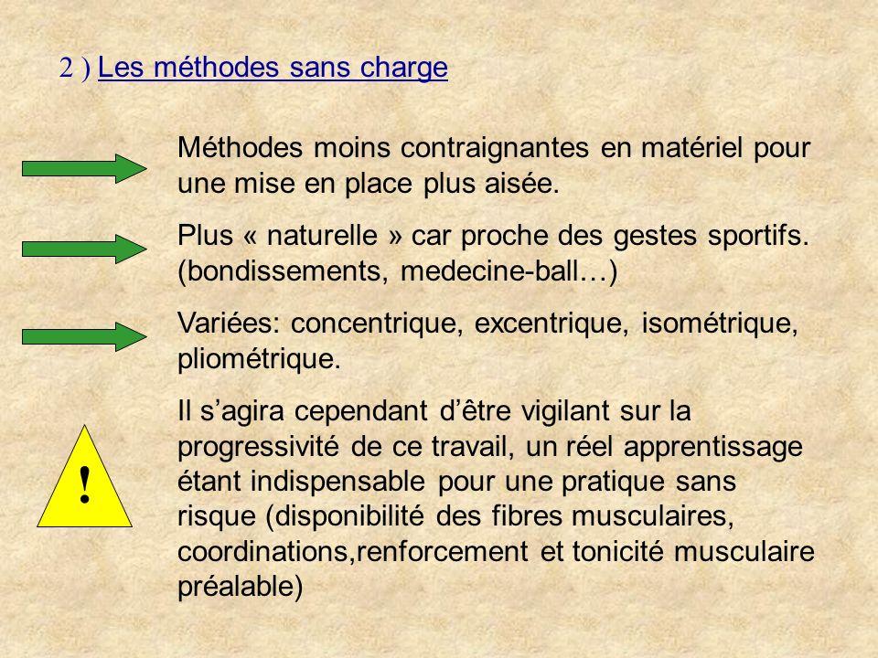 2 ) Les méthodes sans charge Méthodes moins contraignantes en matériel pour une mise en place plus aisée. Plus « naturelle » car proche des gestes spo