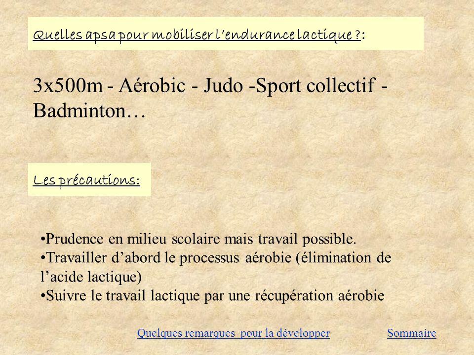 Quelles apsa pour mobiliser lendurance lactique ? : 3x500m - Aérobic - Judo -Sport collectif - Badminton… Les précautions: Prudence en milieu scolaire