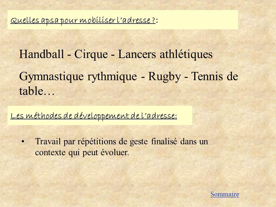 Quelles apsa pour mobiliser ladresse ? : Handball - Cirque - Lancers athlétiques Gymnastique rythmique - Rugby - Tennis de table… Les méthodes de déve
