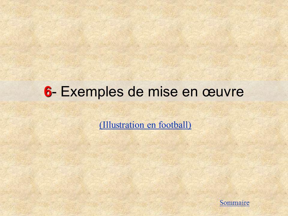 6 6- Exemples de mise en œuvre (Illustration en football) Sommaire