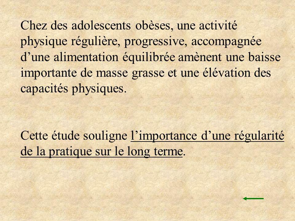 Chez des adolescents obèses, une activité physique régulière, progressive, accompagnée dune alimentation équilibrée amènent une baisse importante de m