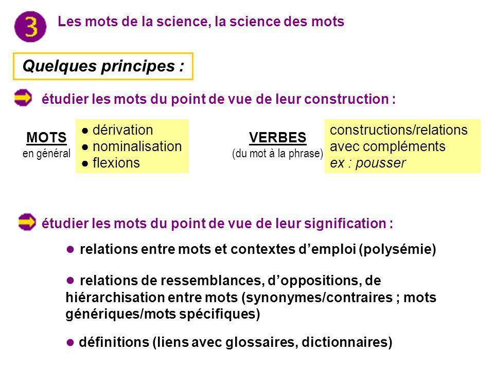 Les mots de la science, la science des mots Quelques principes : dérivation nominalisation flexions MOTS en général VERBES (du mot à la phrase) constr
