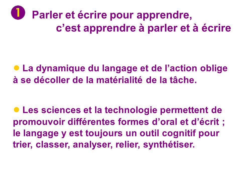 Parler et écrire pour apprendre, cest apprendre à parler et à écrire La dynamique du langage et de laction oblige à se décoller de la matérialité de l