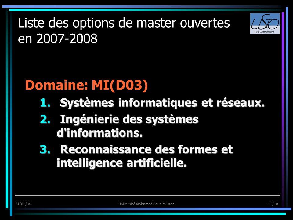 21/01/08Université Mohamed Boudiaf Oran 12/18 Liste des options de master ouvertes en 2007-2008 Domaine: MI(D03) 1. Systèmes informatiques et réseaux.