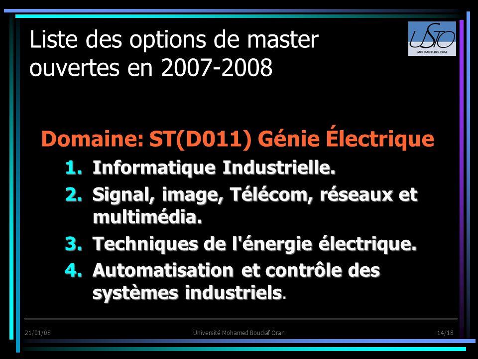 21/01/08Université Mohamed Boudiaf Oran 14/18 Liste des options de master ouvertes en 2007-2008 Domaine: ST(D011) Génie Électrique 1.Informatique Indu