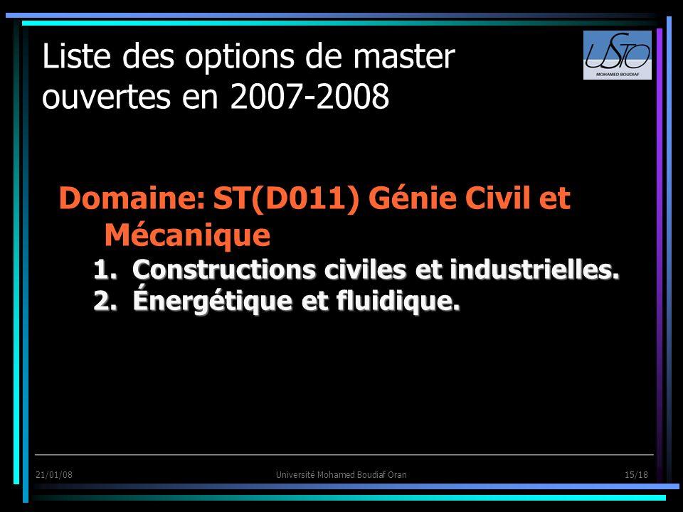 21/01/08Université Mohamed Boudiaf Oran 15/18 Liste des options de master ouvertes en 2007-2008 Domaine: ST(D011) Génie Civil et Mécanique 1.Construct