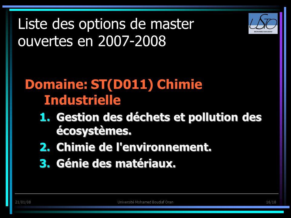 21/01/08Université Mohamed Boudiaf Oran 16/18 Liste des options de master ouvertes en 2007-2008 Domaine: ST(D011) Chimie Industrielle 1.Gestion des dé