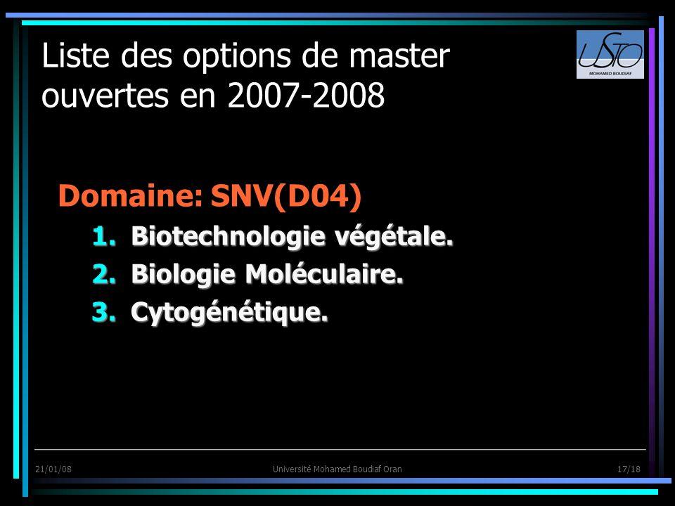 21/01/08Université Mohamed Boudiaf Oran 17/18 Liste des options de master ouvertes en 2007-2008 Domaine: SNV(D04) 1.Biotechnologie végétale. 2.Biologi