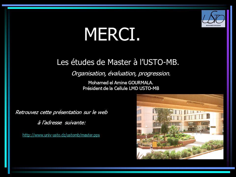 Les études de Master à lUSTO-MB. Organisation, évaluation, progression. Mohamed el Amine GOURMALA. Président de la Cellule LMD USTO-MB Retrouvez cette