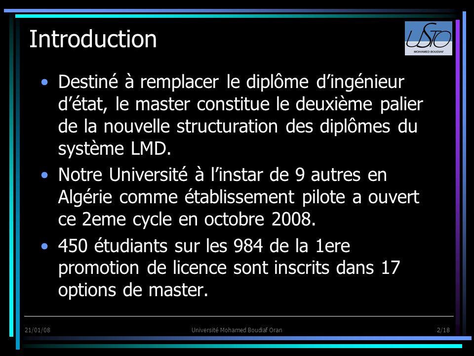21/01/08Université Mohamed Boudiaf Oran 2/18 Introduction Destiné à remplacer le diplôme dingénieur détat, le master constitue le deuxième palier de l