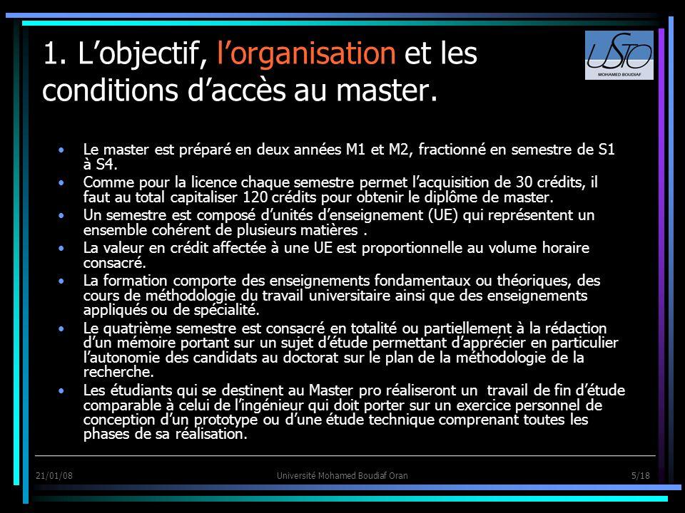 21/01/08Université Mohamed Boudiaf Oran 5/18 1. Lobjectif, lorganisation et les conditions daccès au master. Le master est préparé en deux années M1 e