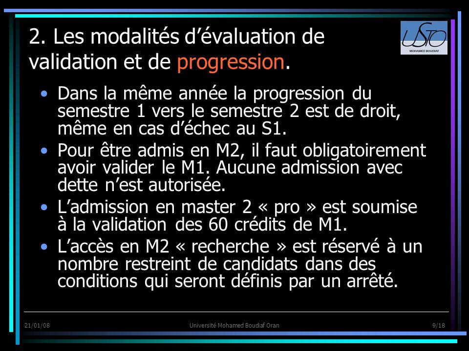 21/01/08Université Mohamed Boudiaf Oran 9/18 2. Les modalités dévaluation de validation et de progression. Dans la même année la progression du semest