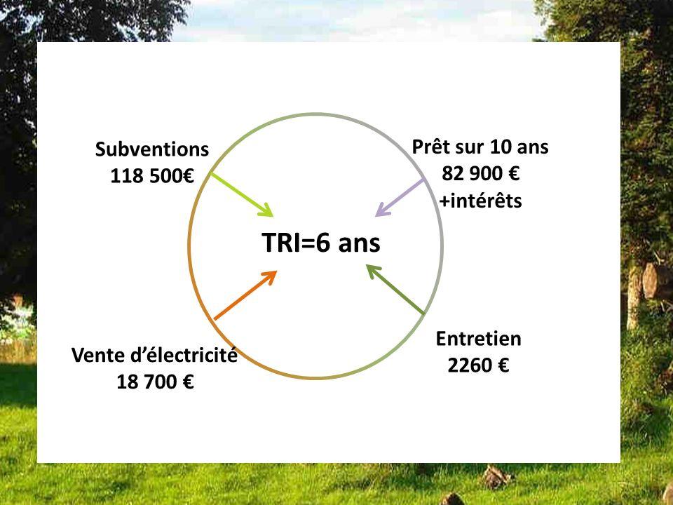 Bilan dune des installations Françaises installation 7 TRI=6 ans Subventions 118 500 Prêt sur 10 ans 82 900 +intérêts Entretien 2260 Vente délectricité 18 700
