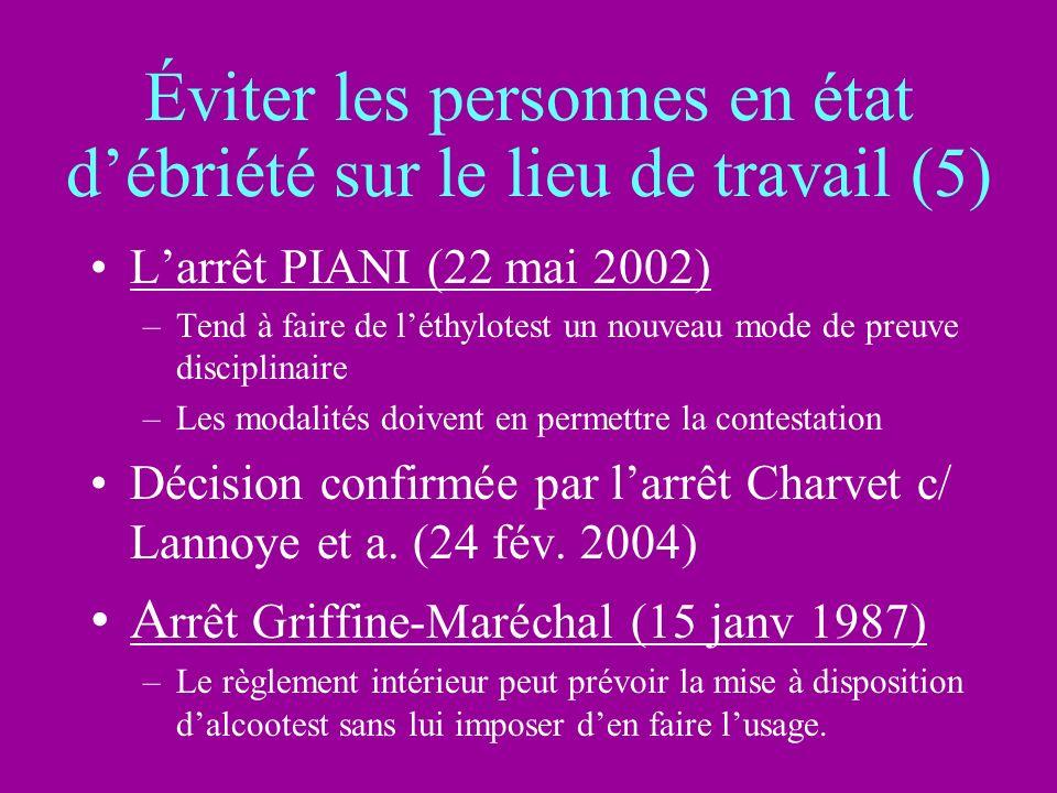 Éviter les personnes en état débriété sur le lieu de travail (5) Larrêt PIANI (22 mai 2002) –Tend à faire de léthylotest un nouveau mode de preuve dis