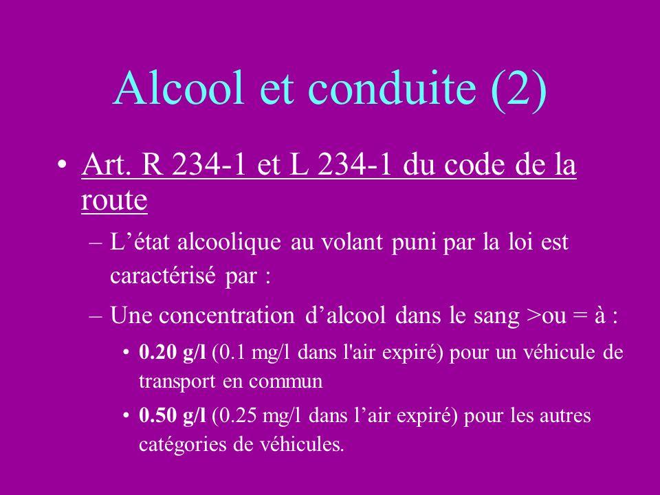 Alcool et conduite (2) Art. R 234-1 et L 234-1 du code de la route –Létat alcoolique au volant puni par la loi est caractérisé par : –Une concentratio