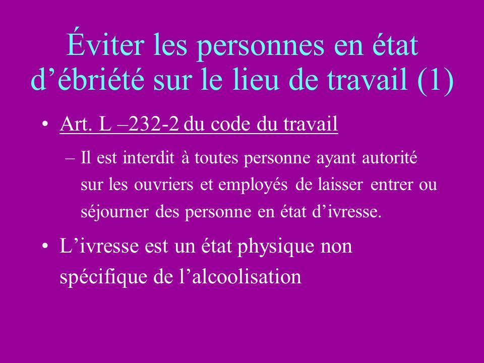 Éviter les personnes en état débriété sur le lieu de travail (1) Art. L –232-2 du code du travail –Il est interdit à toutes personne ayant autorité su