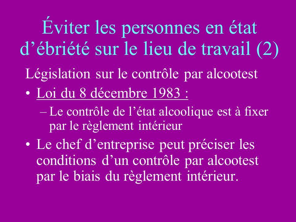Éviter les personnes en état débriété sur le lieu de travail (2) Législation sur le contrôle par alcootest Loi du 8 décembre 1983 : –Le contrôle de lé