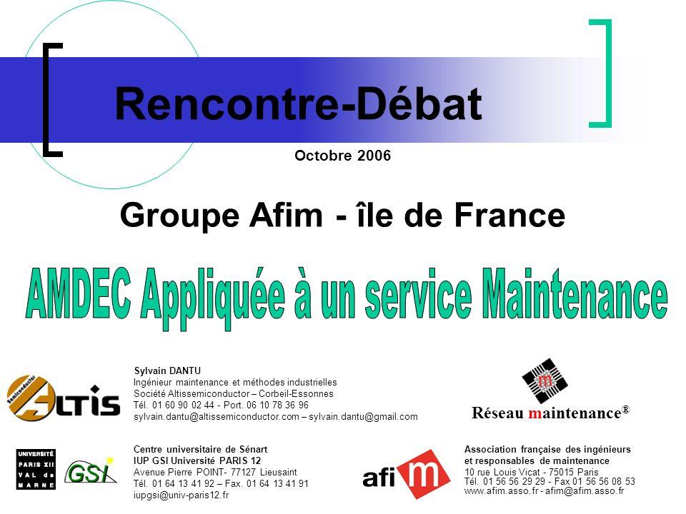 Association française des ingénieurs et responsables de maintenance 10 rue Louis Vicat - 75015 Paris Tél.