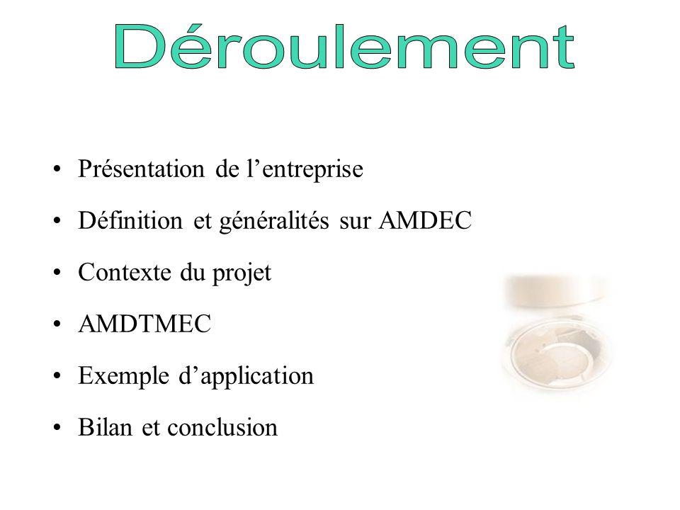 Présentation de lentreprise Définition et généralités sur AMDEC Contexte du projet AMDTMEC Exemple dapplication Bilan et conclusion