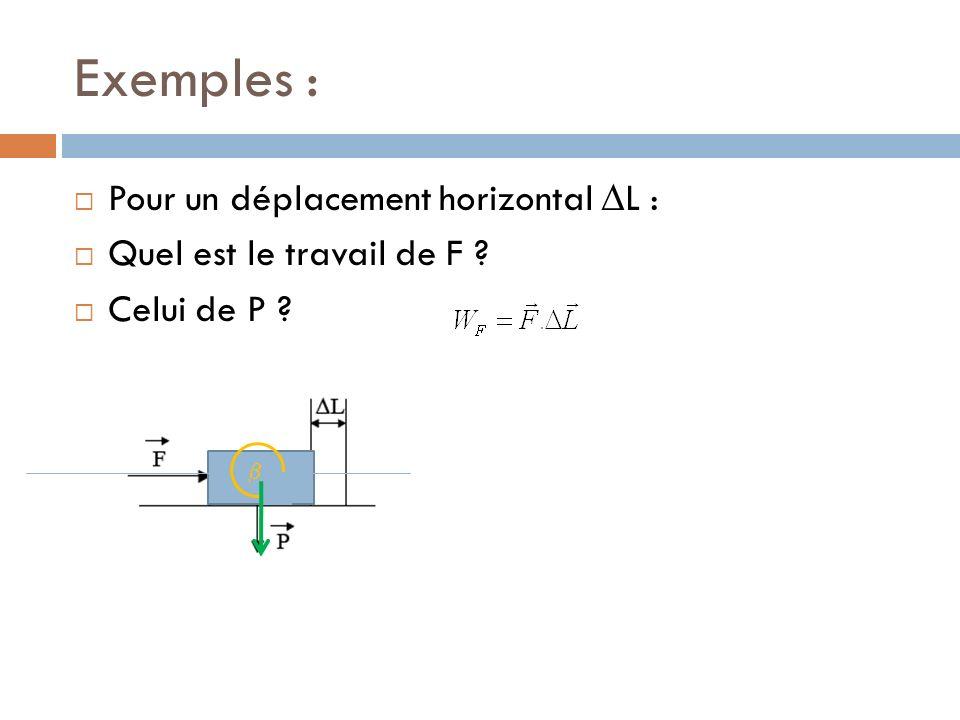 Travail et énergie cinétique Translation : Le travail de la force « F » sur la distance « l » fait varier lénergie cinétique de translation.