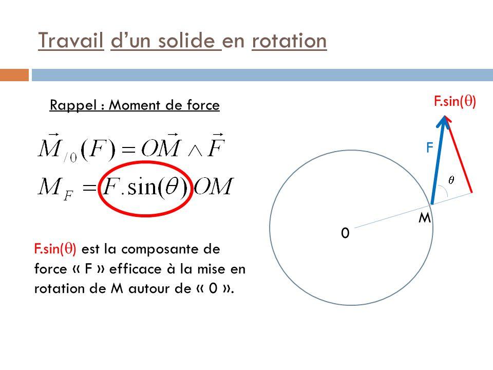 Travail du Moment de force M 0 F.sin( ) F.sin( ) est la composante de force « F » efficace à la mise en rotation de M autour de « 0 ».