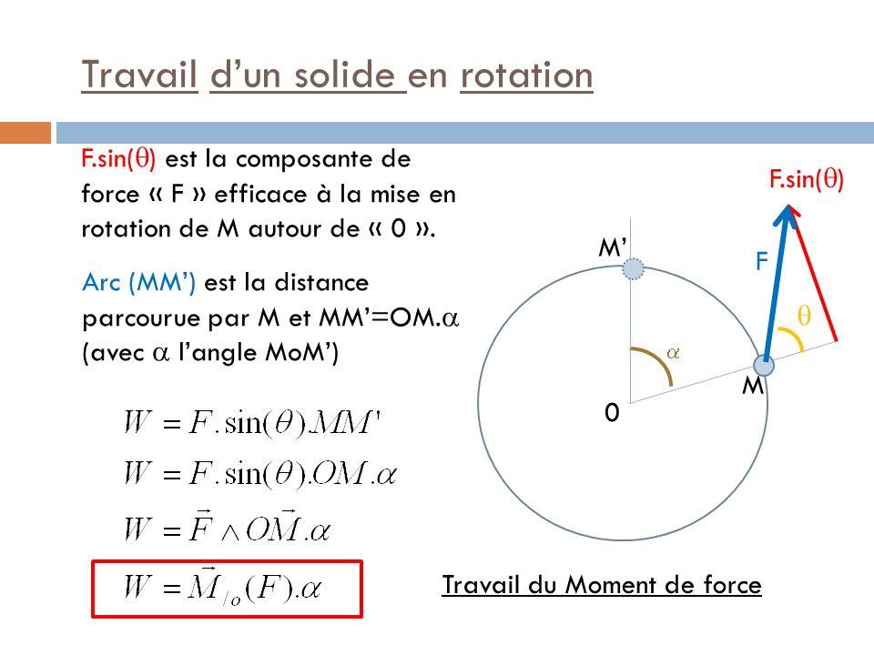 Travail dun solide en rotation M 0 M Travail du Moment de force F est langle parcouru pendant la rotation Moment de force