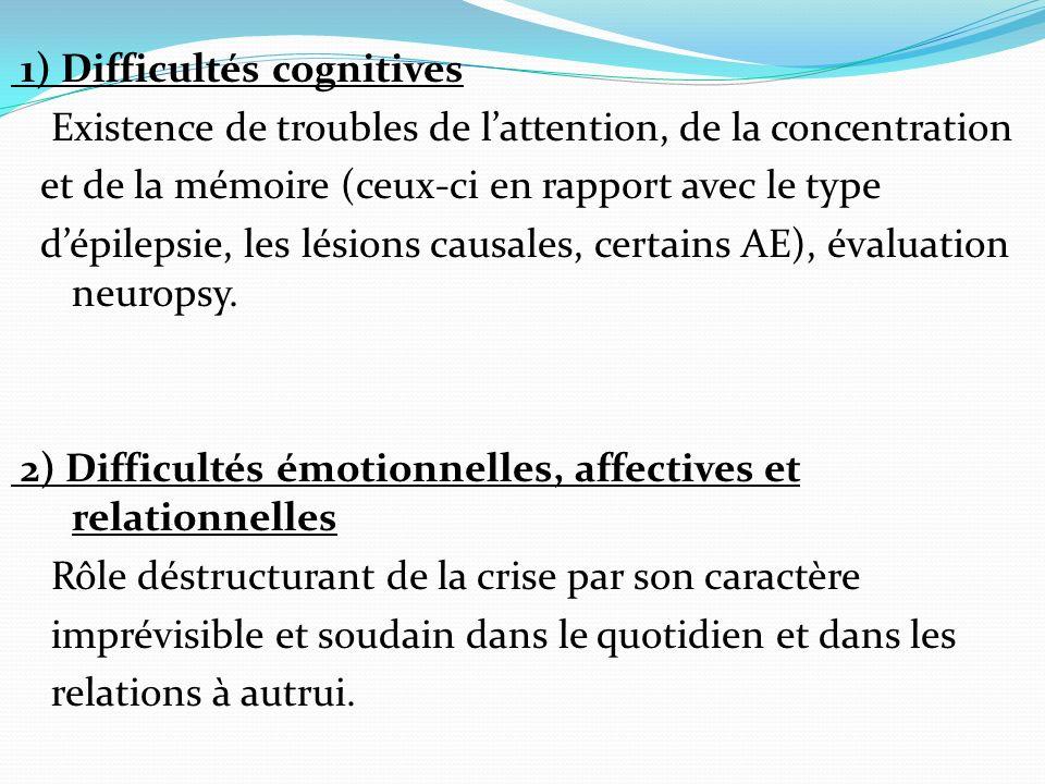 1) Difficultés cognitives Existence de troubles de lattention, de la concentration et de la mémoire (ceux-ci en rapport avec le type dépilepsie, les lésions causales, certains AE), évaluation neuropsy.