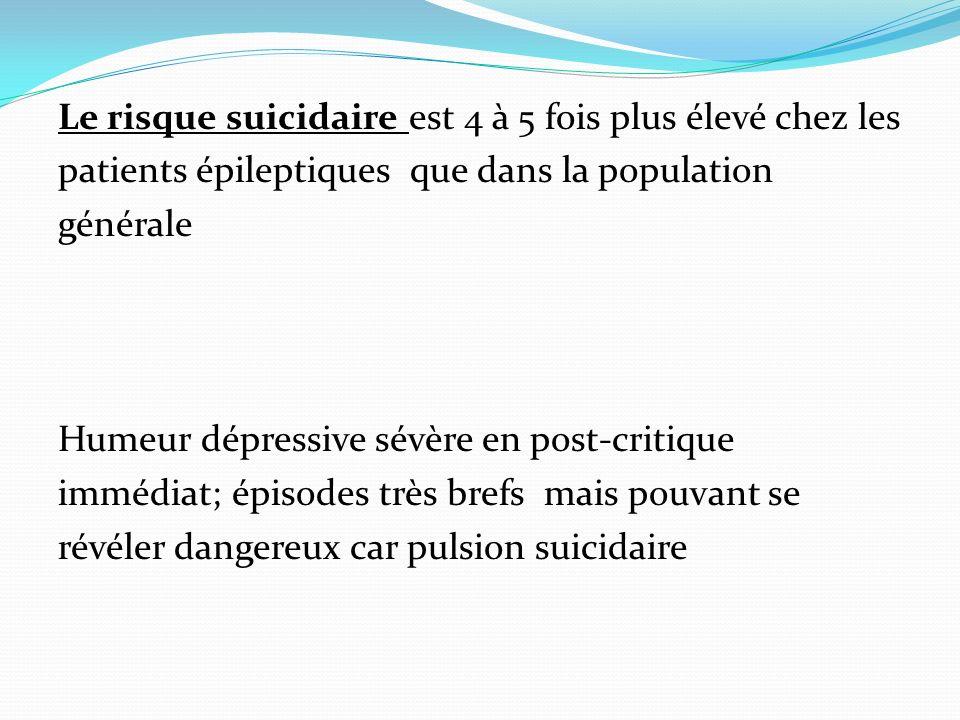 Le risque suicidaire est 4 à 5 fois plus élevé chez les patients épileptiques que dans la population générale Humeur dépressive sévère en post-critique immédiat; épisodes très brefs mais pouvant se révéler dangereux car pulsion suicidaire