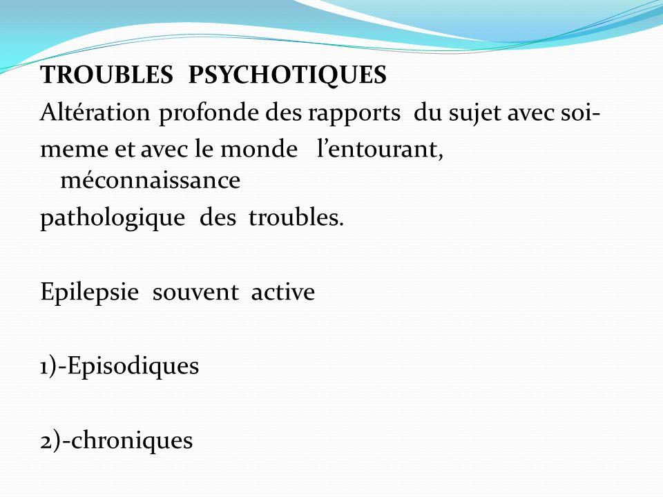 TROUBLES PSYCHOTIQUES Altération profonde des rapports du sujet avec soi- meme et avec le monde lentourant, méconnaissance pathologique des troubles.