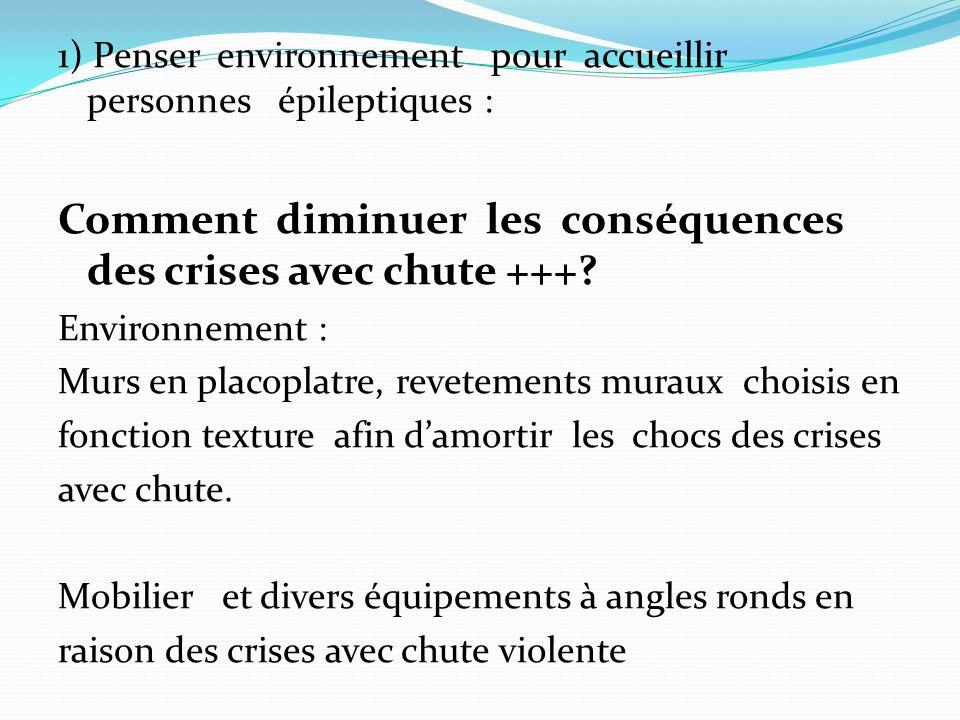1) Penser environnement pour accueillir personnes épileptiques : Comment diminuer les conséquences des crises avec chute +++.