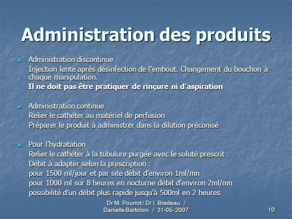 Dr M. Pourrot / Dr I. Bredeau / Danielle Bartoloni / 31-05- 200710 Administration des produits Administration discontinue Administration discontinue I