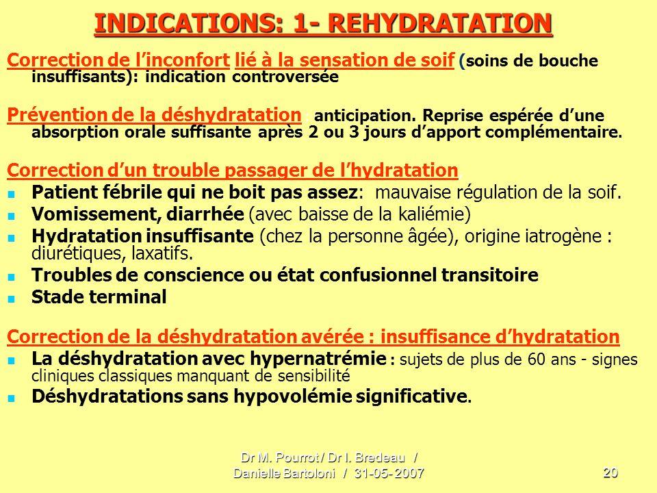 Dr M. Pourrot / Dr I. Bredeau / Danielle Bartoloni / 31-05- 200720 INDICATIONS: 1- REHYDRATATION Correction de linconfort lié à la sensation de soif (