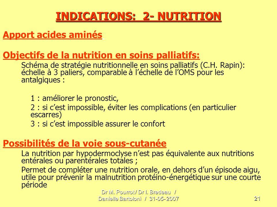 Dr M. Pourrot / Dr I. Bredeau / Danielle Bartoloni / 31-05- 200721 INDICATIONS: 2- NUTRITION Apport acides aminés Objectifs de la nutrition en soins p