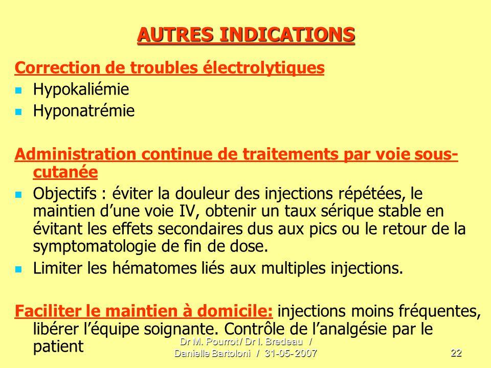 Dr M. Pourrot / Dr I. Bredeau / Danielle Bartoloni / 31-05- 200722 AUTRES INDICATIONS Correction de troubles électrolytiques Hypokaliémie Hyponatrémie