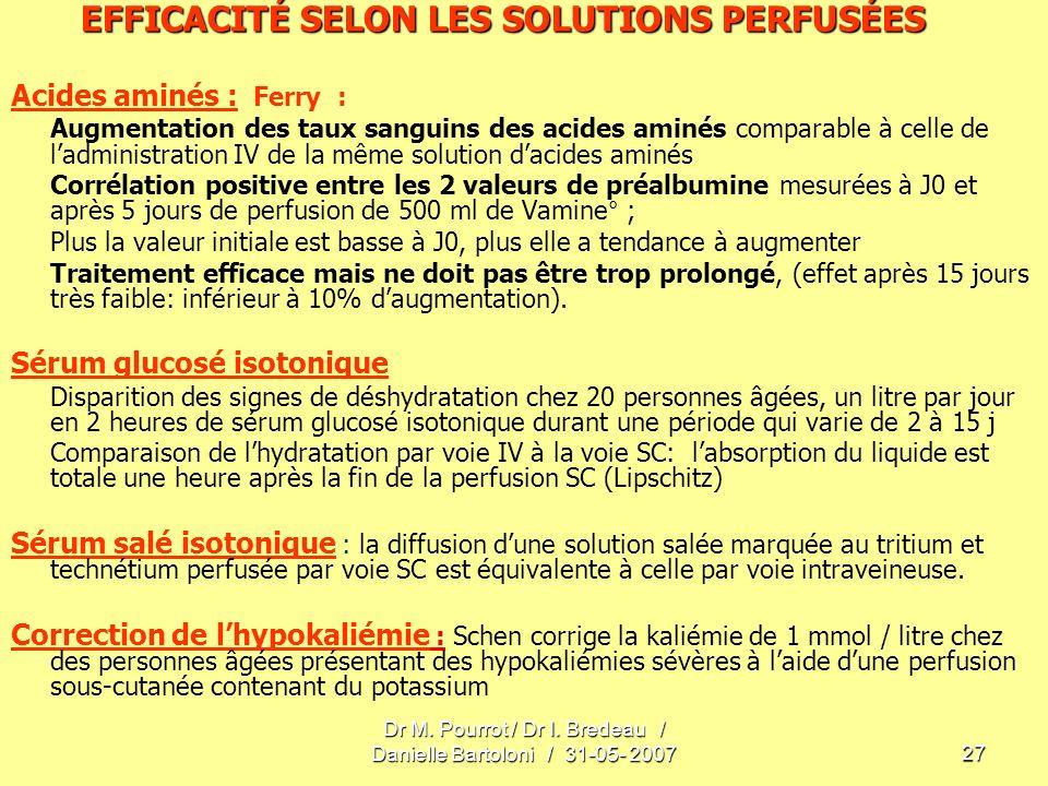 Dr M. Pourrot / Dr I. Bredeau / Danielle Bartoloni / 31-05- 200727 EFFICACITÉ SELON LES SOLUTIONS PERFUSÉES Acides aminés : Ferry : Augmentation des t