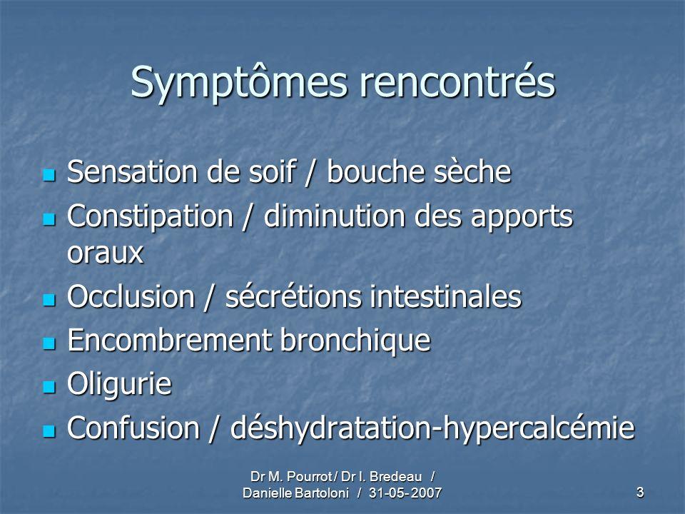 Dr M. Pourrot / Dr I. Bredeau / Danielle Bartoloni / 31-05- 20073 Symptômes rencontrés Sensation de soif / bouche sèche Sensation de soif / bouche sèc